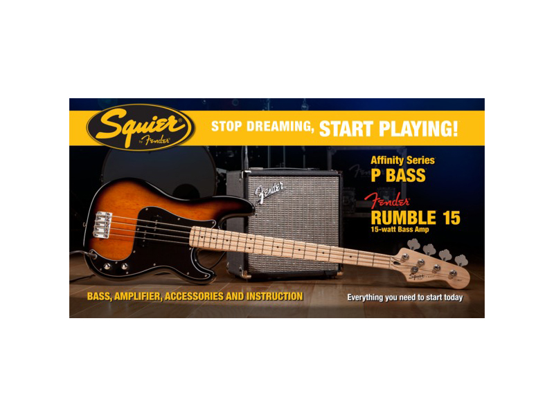 FENDER Squier Affinity J-Bass BSB whith Rumble 15 | Baskytarové sety - 1