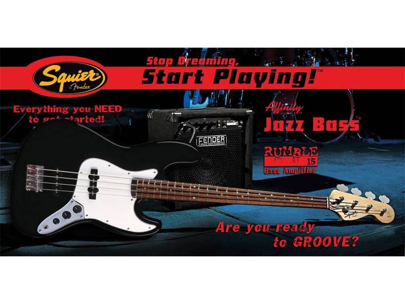 FENDER SQUIER Affinity J-Bass with Rumble 15 amp Black | Baskytarové sety - 1