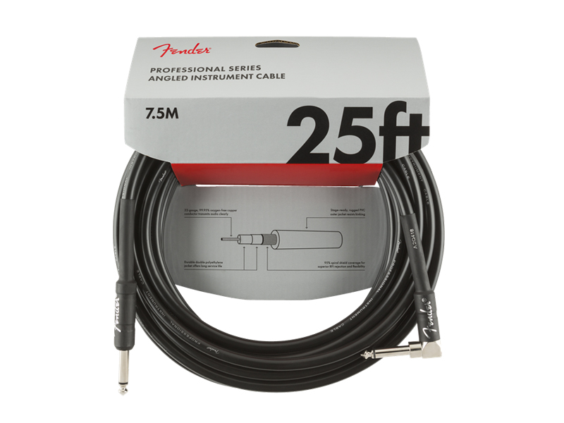 FENDER Professional Series Instrument Cables, Straight/Angle, 25', Black | 7,5m - 1