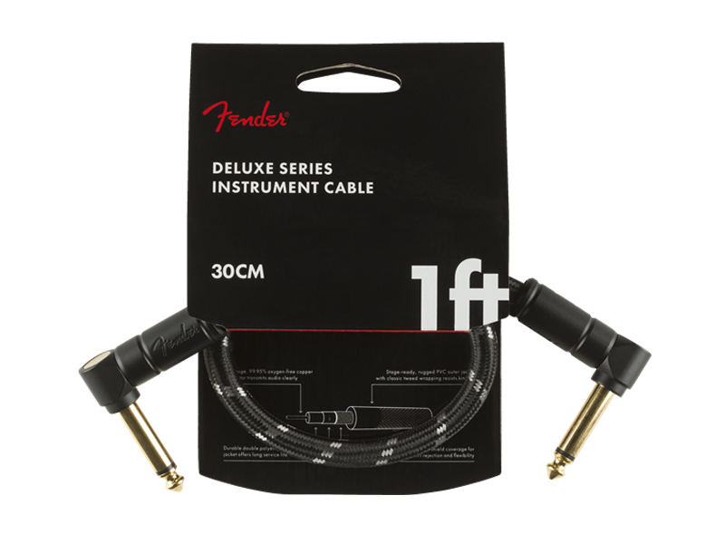 FENDER Deluxe Series Instrument Cable, Angle/Angle, 1', Tweed | Kabelové propojky - 1