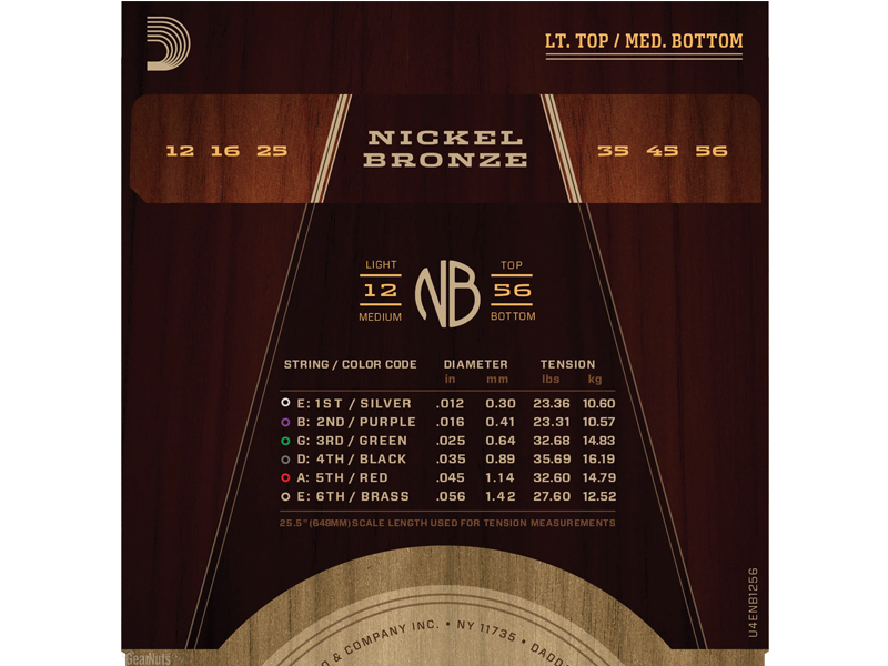 D'ADDARIO NB1256 Nickel Bronze Acoustic Light Top / Medium Bottom | Struny pro akustické kytary .012 - 2