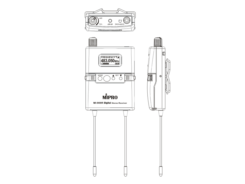 MIPRO MI-909 IEM Digital - 5F 540-604MHz | In-Ear monitoring kompletní sety - 5